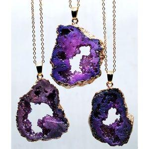 Jewelry - Natural Purple Druzy Quartz Geode Stone Necklace